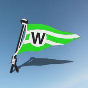 Das Symbol der SSVaW-App, der Stander auf blauem Hintergrund